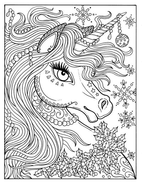 free printable coloring pages for adults unicorns unicorn christmas coloring page adult color book art fantasy