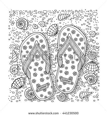coloring pages for adults beach coloring book for adult sea beach slippers sand and