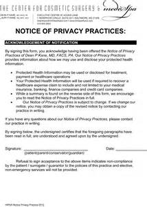 Notice Of Privacy Practices Template by Printable Hipaa Privacy Policy Notice Form Rachael Edwards
