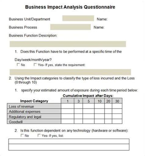 business requirements questionnaire template business impact analysis 5 documents in word pdf