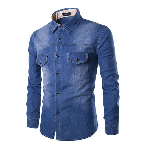 S Denim Bronzee Slim Fit Biru 2017 high quality cotton shirts slim fit solid sleeve denim shirt clothes