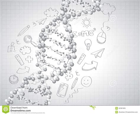 doodle sketch free dna spiral molecules background stock vector image