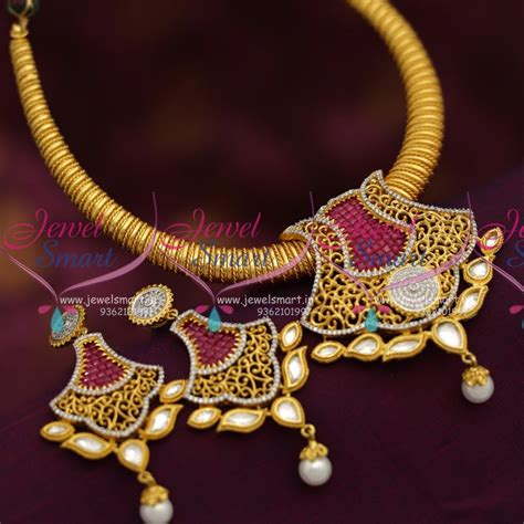 design is one online nl6935 one gram stylish gold design cz kundan jewellery