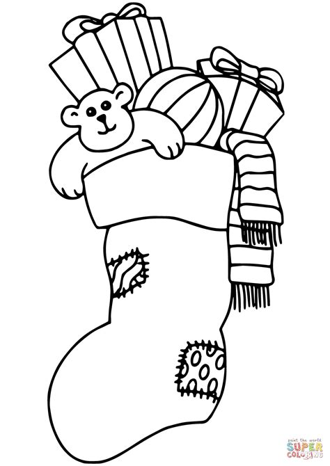 christmas stocking filled  gifts coloring page