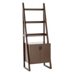 walnut encore ladder shelf with cabinet the container store