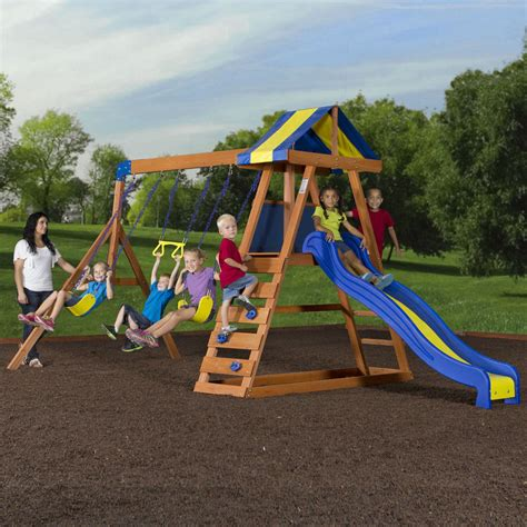 kids play swing set wooden swing set cedar wood outdoor backyard playset play