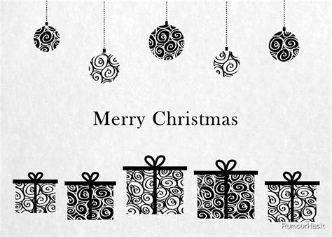 black  white merry christmas  rumourhasit redbubble