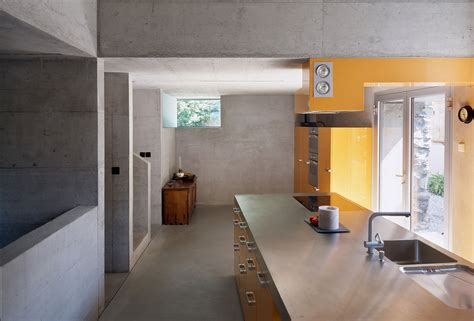 Exposed Concrete Interior by Kitchen Exposed Concrete Yellow Units Renovation In