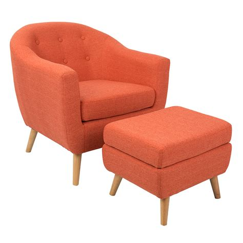 ottoman define radbury orange modern chair ottoman eurway