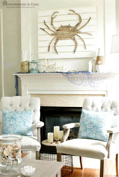 coastal home decorating coastal summer home with diy driftwood crab rope and