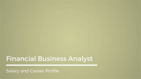 Salary Of Financial Analyst With Mba by Financial Business Analyst Career And Salary Profile