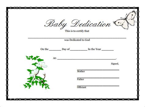 baby dedication certificate 9 download free documents