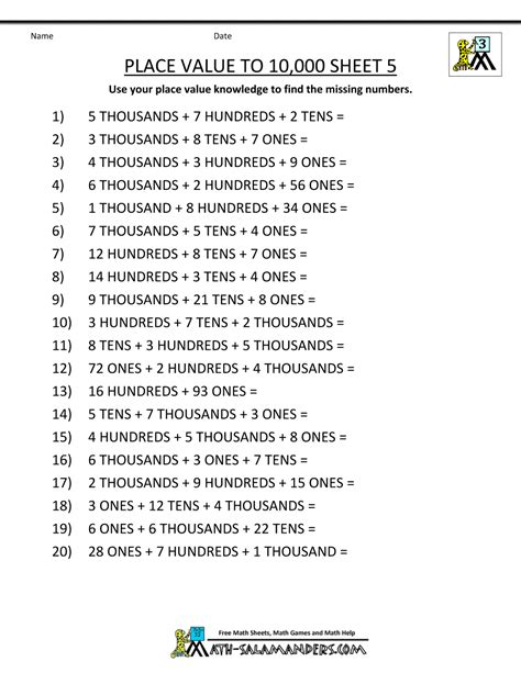 Printable Worksheets For 3rd Grade by Math Worksheets Place Value 3rd Grade