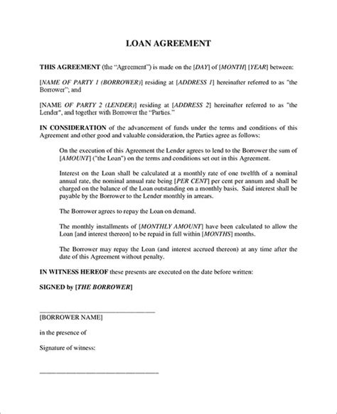 loan agreement free template loan contract template 20 free word pdf documents