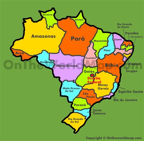 map of brazil with states brazil states map administrative map of brazil