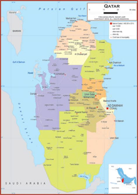 physical map of qatar qatar maps academia maps