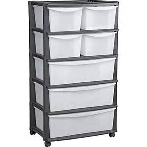 7 drawer plastic wide tower storage unit black