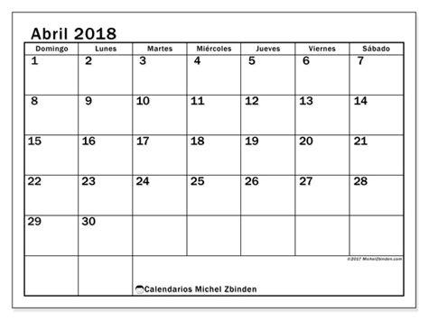 Abril Calendario Calendarios Para Imprimir Abril 2018 Colombia