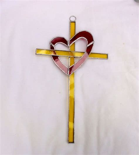 stained glass cross tattoo entwined cross suncatcher