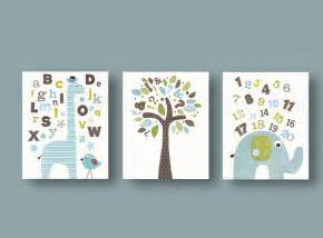 Baby Boy Nursery Wall Decor Alphabet Giraffe Numbers Elephant Bird Tree By Galerieanais