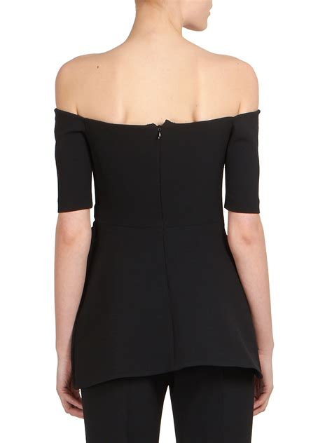 Black Sabrina Top stella mccartney sabrina peplum the shoulder top in