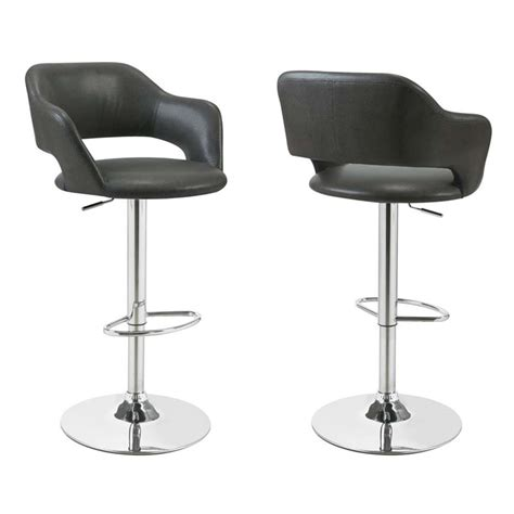 Charcoal Grey Bar Stools by Adjustable Faux Leather Swivel Bar Stool In Charcoal Gray