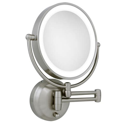 illuminated magnifying mirrors for bathrooms zadro 10x 1x led lighted satin nickel wall