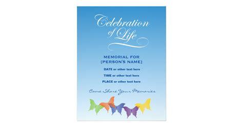 Celebration Of Life Butterflies Invitation Flyer Zazzle Celebration Of Template