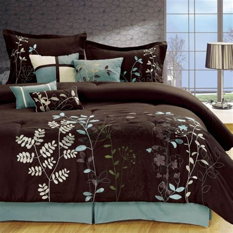 Light Blue And Brown Bedding Bliss Garden 8 Piece Brown Comforter Set Bedroom