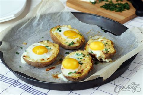 Baked Egg Potato baked potato with egg on top home cooking adventure