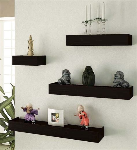 wall shelves pepperfry buy home sparkle black shelf set of 4 online