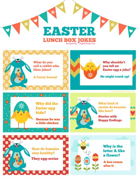 Printable Easter Lunch Box Jokes | free printable easter spring lunch box jokes pepper scraps