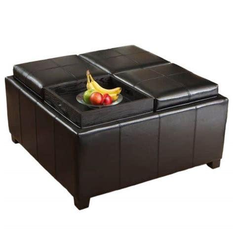 ottoman with 4 tray tops кожаный пуф трансформер купить и цена goodsi ru