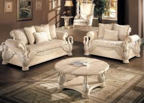 White Livingroom Furniture by Avignon Antique White Swan Motif Luxury Formal Living Room