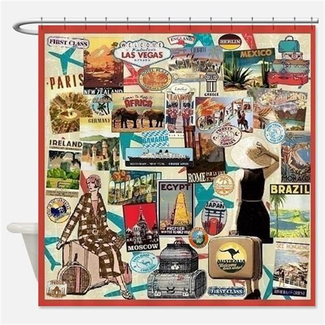 travel shower curtain vintage travel shower curtains vintage travel fabric