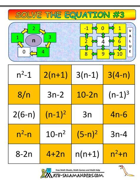printable math games grade 3 algebra math games