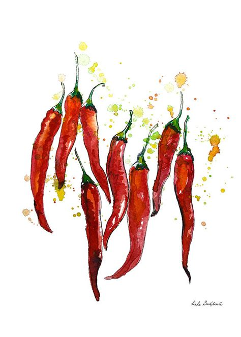 red hot chili pepper poster watercolor art red kitchen red chili pepper watercolor pepper graphics print