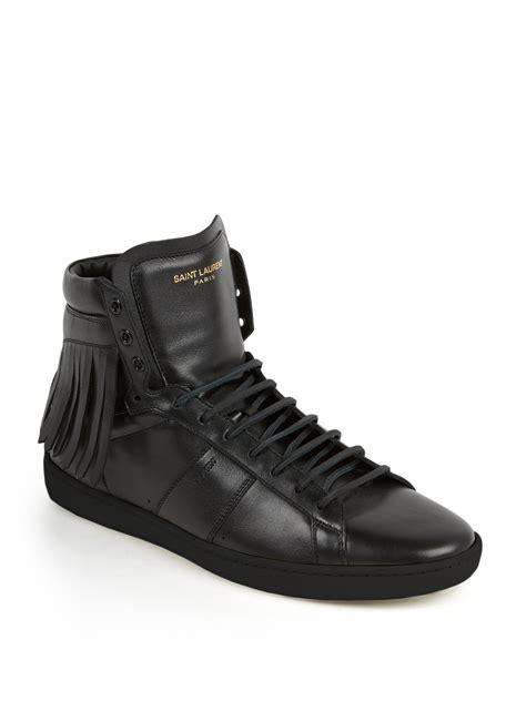 laurent high top sneakers laurent fringed leather high top sneakers in black
