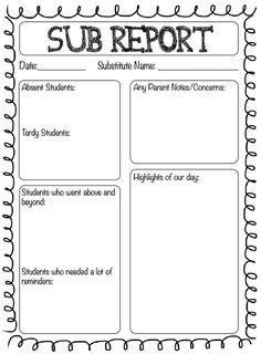1000 Ideas About Substitute Teacher Forms On Pinterest Teacher Forms Substitute Teacher And Substitute Folder Template