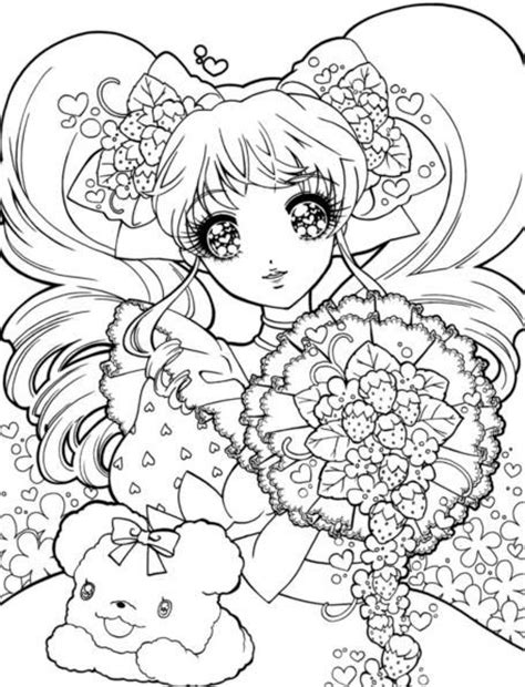 kawaii japanese coloring pages print and color sparkly eyed shoujo beauties drop dead