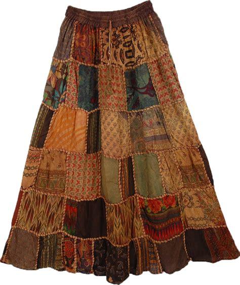 Patchwork Skirt - paarl panel boho skirt clothing patchwork