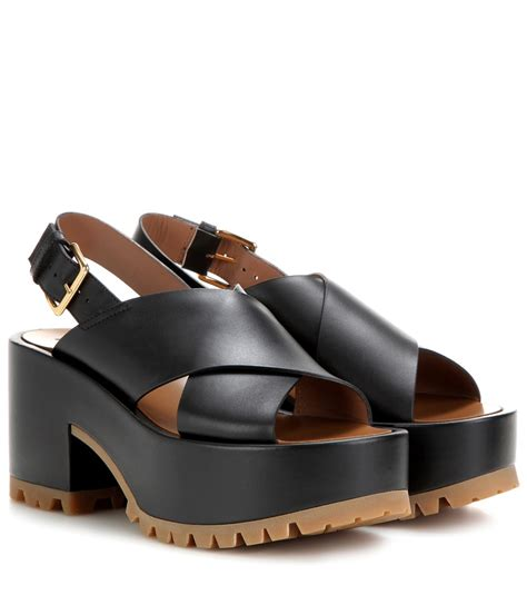 black leather platform sandals marni leather platform sandals in black lyst