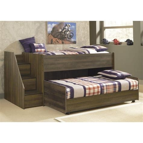 ashley furniture juararo loft bed  caster bed  dark brown     kit