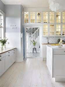 White Tile Kitchen Floor Pale Lavender Walls White Kitchen Cabinets White Wood Floors Glass Cabinet Doors Beautiful