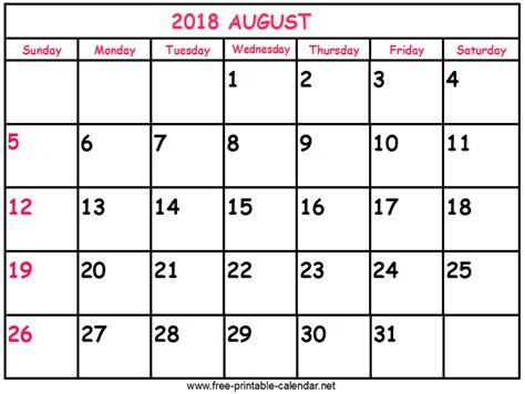 printable calendar august 2018 print calendar 2018 august