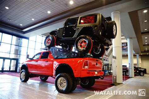 jeep truck 2 door 2014 sema black piggyback jeep jk wrangler 2 door on a ram