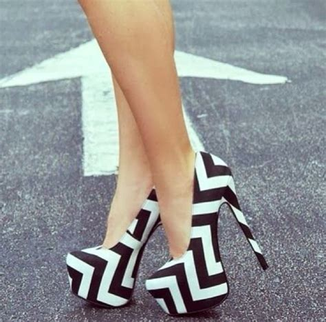 black and white chevron heels shoes chevron black white high heels wheretoget