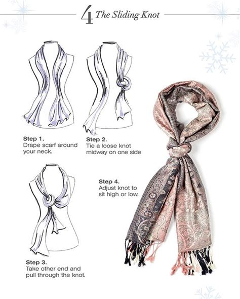 knot twist and drape scarf 4 the slidding knot step 1 drape scarf around your neck