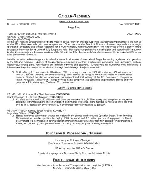 logistics executive resume sles 8 logistics resume bursary cover letter