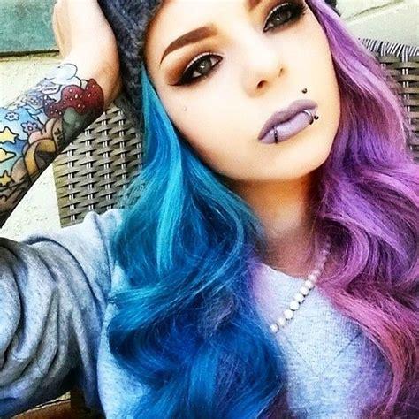 half colored hair half blue half purple hair colors purple hair hair